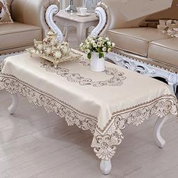 Brown flower embroidered lace rectangular tablecloths set of