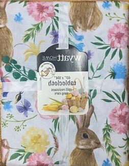 "Bunny Rabbit Pink Blue Floral Tablecloth 60"" X 104"" Oblo"