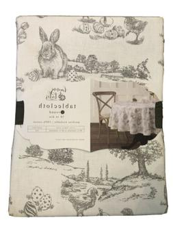 "Bunny Tales Grey White Rabbit Toile Tablecloth 70"" Round E"