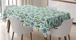 Ambesonne Cactus Tablecloth, Hand Painted Style Exotic Plant