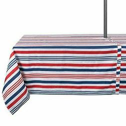 "DII CAMZ37333 Patriotic Stripe Outdoor Tablecloth 60"" X120"","