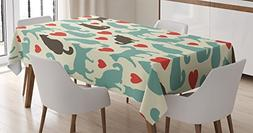 Cat Lover Decor Tablecloth by Ambesonne, Pattern with Cats H