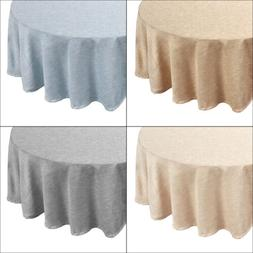 "Café Deauville Chambray Vinyl 70"" Round Table Cloth Flannel"