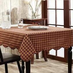 VHC Brands Check Scalloped Table Cloth Burgundy Square
