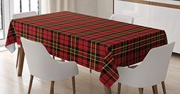 Ambesonne Checkered Tablecloth, Scottish British Celtic Cult