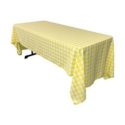 LA Linen Checkered Tablecloth, 60 by 120-Inch, Light Yellow