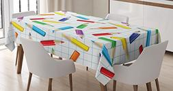 Ambesonne Children Tablecloth by, Colorful Pencils on Checke