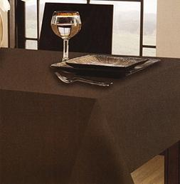 Chocolate Brown Tuscan Laminated Fabric Tablecloth 70 Round