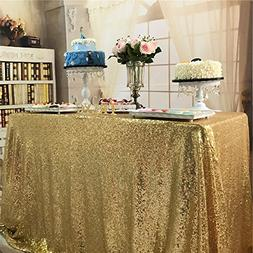 TRLYC Christmas 72 by 72-Inch Wedding Sparkly Gold Square Se