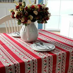 Christmas Cotton Deer Table Cover Cloth Party Tablecover Tab
