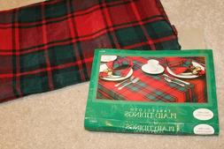 """Christmas red green Plaid Tidings tablecloth table cloth 60"""""""