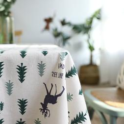 Christmas Tablecloth Christmas Tree and Deer <font><b>Linen<