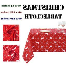 Christmas Tablecloth Washable Water Resistance Microfiber Ta