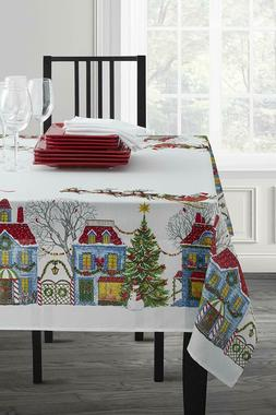 Christmas Village/Holiday Trimming Fabric Printed Tablecloth