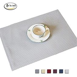 Eforcurtain Set of 4 Classic Waffle Checks Placemats Stain-r