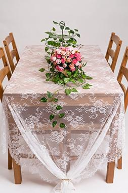 "Crisky 60""x120"" Classic White Lace Tablecloths for Weddings,"