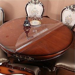 Eco Thicken Clear PVC Round Table Protector Cover Clear Plas
