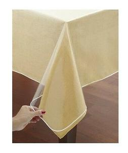 Clear Vinyl Tablecloth Protectors. White Hemmed Border. Seve
