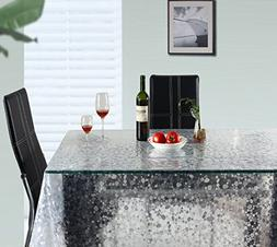 UFRIDAY Clear Tablecloth for Rectangle Table, Cobblestone/Pe