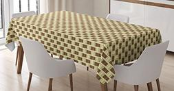Ambesonne Coffee Tablecloth, Illustration of Take Away Coffe