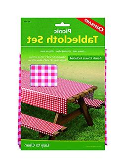 Coghlans Picnic Tablecloth Set 3-Piece Heavy Vinyl Table Clo