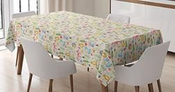 Colorful Tablecloth by Ambesonne, Cartoon Style Forest Anima