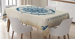 Ambesonne Compass Decor Tablecloth, Compass Illustration wit