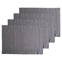 DII Hemstitch Placemat, Set of 4, Gray - Perfect for Dinner