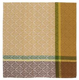 "100% Cotton Beige Brown & Green Jacquard 60""x60"" Tablecloth"