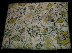 "COTTON BLEND CLOTH TABLECLOTH IVORY FLORAL GREENS GOLDS 60""x"