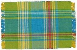"100% Cotton Blue Green & Yellow Plaid 12""x18"" Placemat, Set"