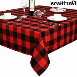 Cotton Buffalo Plaid Check Tablecloth Red and Black Table Co