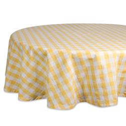 "DII 70"" Round Cotton Tablecloth, Yellow & White Check - Perf"