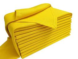Dinner Napkins Set of 12 in Flax Cotton Fabric-Mustard Yello