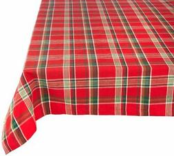 """Tango Red Plaid Square Tablecloth, 100% Cotton with 1/2"""" Hem"""