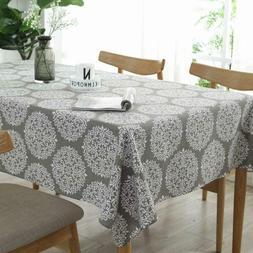 Lominc Cotton Linen Table Cloth Cover for Kitchen Dinning Ta