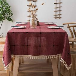 Lamberia Cotton Linen Tablecloths with Tassel for Square Tab
