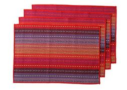 WOOD MEETS COLOR Cotton Table Placemats Woven Braided Ribbed