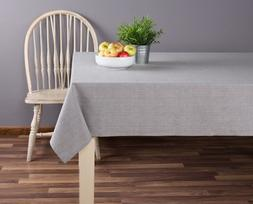 Sticky Toffee Cotton Tablecloth 52 in x 70 in, Gray Solid, S