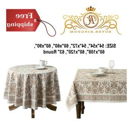 Cotton Tablecloth Table Cloth Cover Beige Round Square Recta