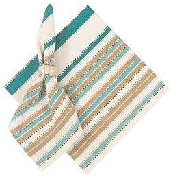 "100% Cotton Teal Beige White Stripe, Set of 6 - 22""x22"" Napk"