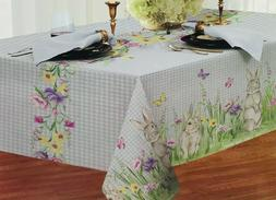 Country Blue White Gingham Easter Spring Fabric Tablecloth: