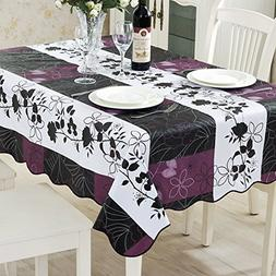 ColorBird Country Style Floral Flannel Backed PVC Tablecloth