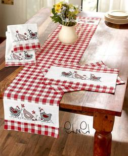 Country Kitchen Linens Hen Chicken Print Red White Checkered