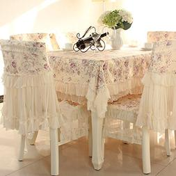 Country style lace purple grace floral design square tablecl