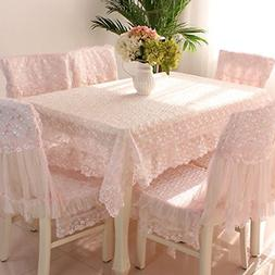 "Country style pink check lace rectangle tablecloths 59""78"""