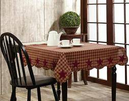 """Country Primitive Burgundy Star Table Topper Cloth Cover 40"""""""