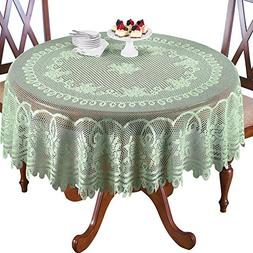 "Crochet Lace Floral Tablecloth, Sage Green, 70"" Round"