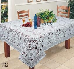 """Crochet Lace Tablecloth 60x104"""" Rectangular Knitted Table Cl"""