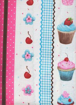 Gourmet Collection Cupcakes Galore Print 70 Round Fabric Tab
